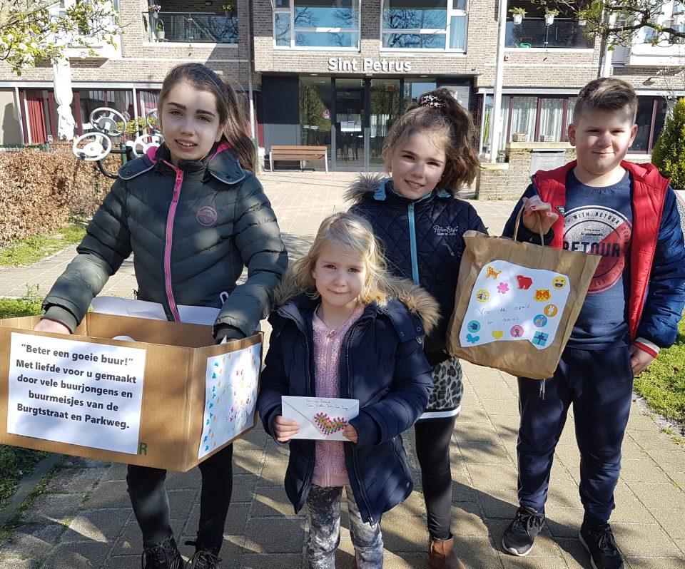 Buurtkinderen tekenen/knutselen voor Sint Petrus Brabantzorg